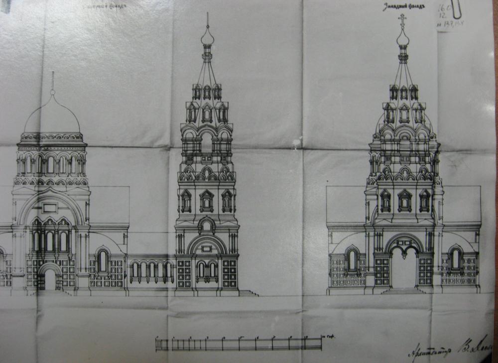 Проект колокольни Вознесенского храма на Городке